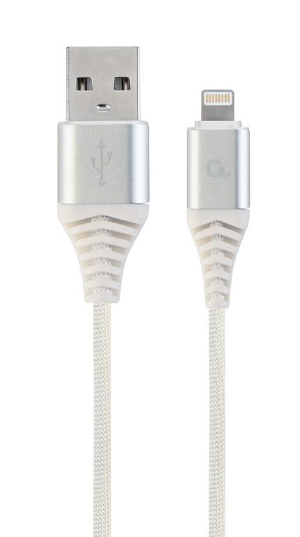 Premium 8-pin laad- &amp: datakabel katoen1 meter zilver/wit