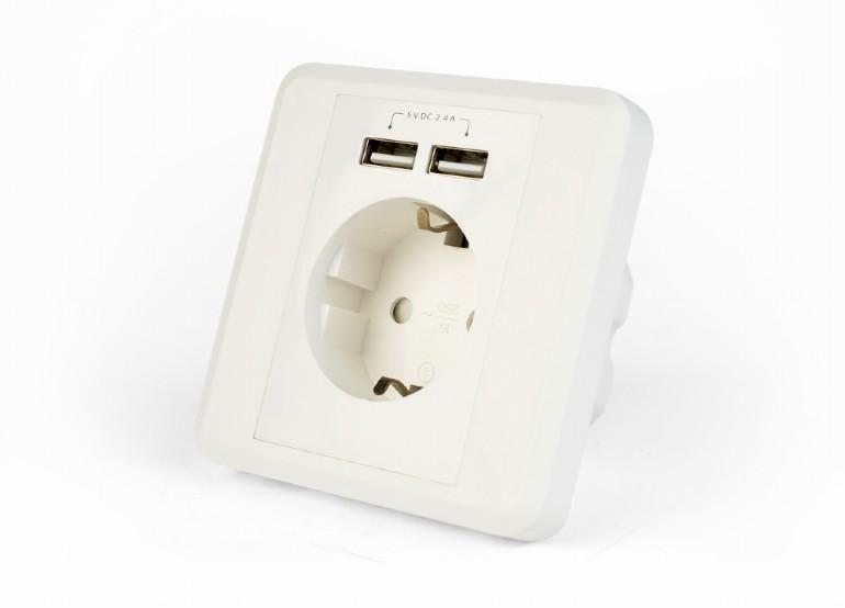 Inbouwstopcontact met 2X USB, 2.4 A, wit