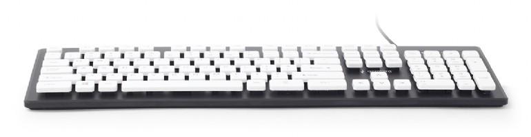 Gembird Standaard -chocolate- toetsenbord USB, zwart/wit, US layout